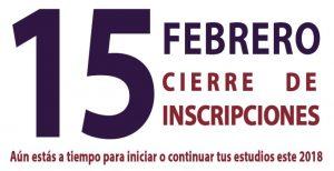 Cierre de Inscripciones: 15 de Febrero